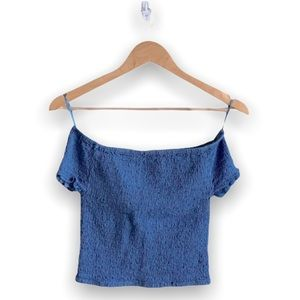 Streetwear Society Blue Over the Shoulder Crop Top